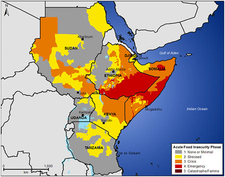 The drought in East Africa threatens the lives of 12 million