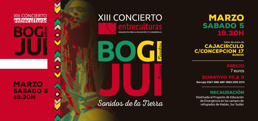 Entrada para el concierto solidario de Bogi Jui en Burgos