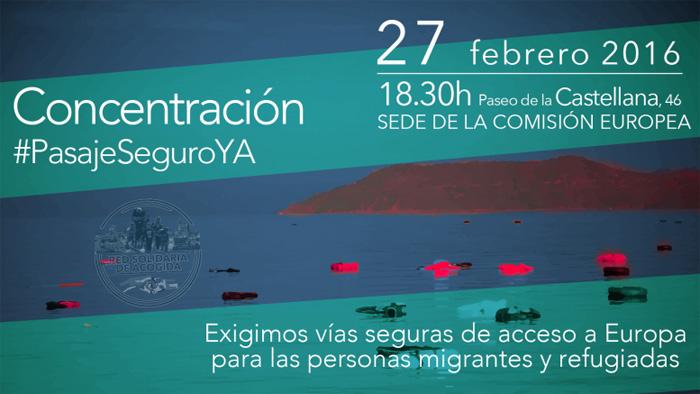 Cartel de convocatoria a la movilización en España #PasajeSeguroYA