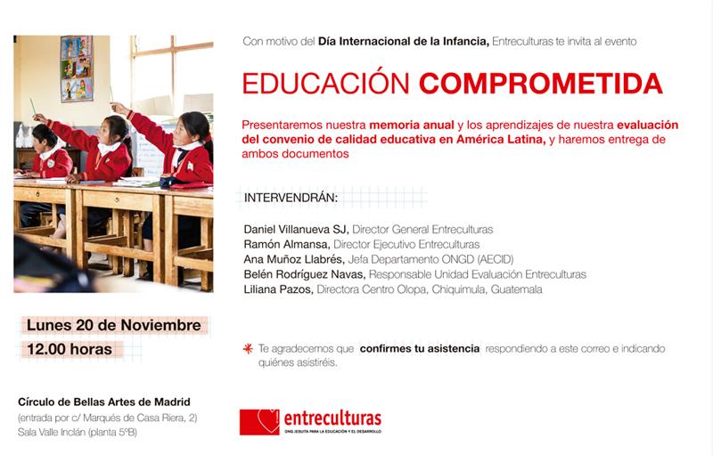 ONG Entreculturas educación comprometida Día Infancia