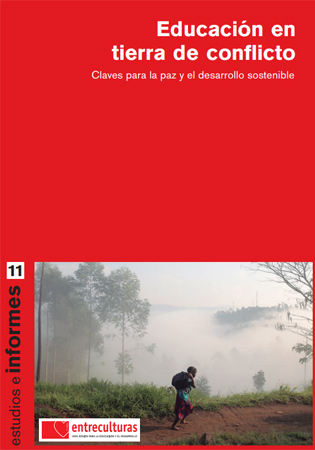 """Portada del informe """"Educación en tierra de conflicto"""""""